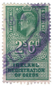 (I.B) Edward VII Revenue : Ireland Registration of Deeds 2/6d