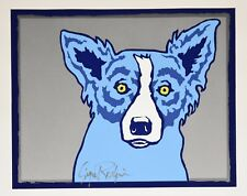 George Rodrigue Blue Dog Top Dog Silver Silkscreen Print Signed Numbered Artwork