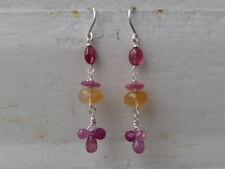 Pendientes, 925, rubí, zafiros roses, ópalos de fuego y espinelas