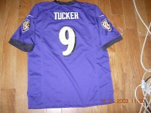 Justin Tucker #9 Baltimore Ravens SEWN sz Youth Med. Home NIKE ON-FIELD Jersey