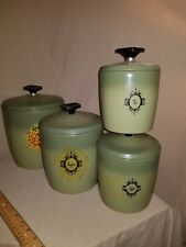 Vintage West Bend Avocado Green Tin Metal Canister 4 Canisters W/Lids
