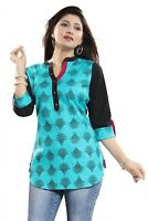 Women Top Indian Short Kurti Tunic Kurta Cotton Printed Blue Shirt Dress MM192