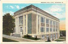 Memorial Hall, S.M.A. in Staunton Va Postcard