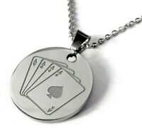 Engraved Necklace Pendant Personalized Name Gift Chain Stainless Play Card Men