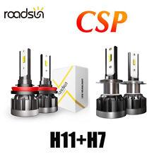 Combo CSP LED Headlight Kit H11+H7 Total 2400W 576000LM Bulbs Hi/Lo Beam 6000K