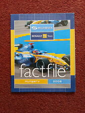MILD SEVEN RENAULT F1 TEAM FACTFILE ROUND 13 HUNGARY 2005 ALL DRIVERS INFO ALONS