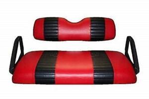 E-Z-Go TXT (FRONT + REAR COMBO ) Golf Cart Custom Seat Cover Set-2 STRIPE Staple