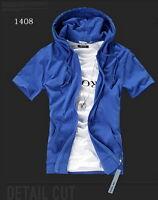 Summer Men's Fashion Slim Fit Short Sleeve Hooded Shirt Sweats Hoodies 11 Colors