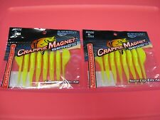 """2 Packs Leland's Crappie Slab Magnet 2.5"""" Soft Fishing Lures / Chartreuse Solid"""