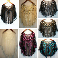 Vintage Gold Ladies 1920s Shawl Wraps Sequin Evening Cape Bridal Bolero Flapper