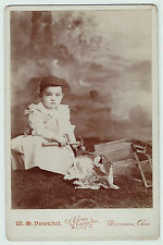 RARE Cabinet Photo - Boy as Carpenter - Tools, Hammer, Saw, Dennison OH - 1880