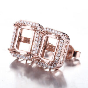 0.24ct SI-SI3/H Diamonds Semi Mount Earring Emerald 5x7mm Solid 14K Rose Gold
