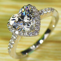 White Sapphire 925 Silver filled Heart Diamond Wedding Engagement Ring Size 6-9