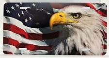AMERICAN FLAG, EAGLE,  ALUMINUM FRONT LICENSE PLATE