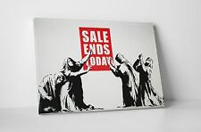 """Banksy - Sale Ends Today Stretched Canvas Print 30""""x20"""". BONUS BANKSY WALL DECAL"""