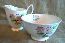 Vintage Royal Albert flor del mes Sugar Bowl y jarra de leche década de 1950