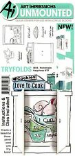 Art Impressions Mini Tryfolds Homemade Happiness Stamps Set - Baking, Cooking
