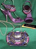 KAREN MILLEN Purple 3-3.5 Tribal Beaded £260 Sandals dress Shoes Evening Bag SET