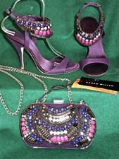 New KAREN MILLEN Purple Uk3-3.5 Tribal Beaded £260 Sandals Shoes Evening Bag SET