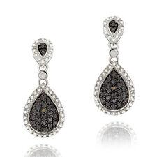 925 Silver Champagne Diamond Teardrop Dangle Earrings