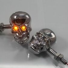 Chrome LED Skull Turn Signal light For Suzuki Gsxr Honda Shadow CBR Yamaha KTM