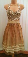 COAST TRAVIETTA STRAPLESS / HALTER CREAM GOLD SILK 50'S DRESS SIZE 8 BNWT £160