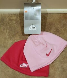 Nike Infant Size 0-9 months 2-Pack Pink 100% Cotton Knit Beanie Hats Caps NEW