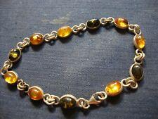 Gem Stone Tennis Bracelet Baltic Amber Sterling Silver Chunky