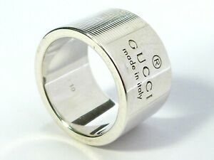 GENUINE SOLID HEAVY STERLING SILVER GUCCI RARE WIDE RING BAND (Wedding) J½