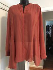 Soft Surroundings Sheer Camel Orange Asymmetrical Button Up Blouse Tunic L R2