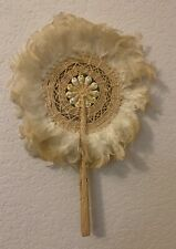 Vintage woven straw, shell and feather hand fan.  Purchased in Hawaii.