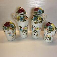 Tilso Set Of 4 Salt And Pepper Shakers Oil Vinegar Bottles Flower Pot Basket