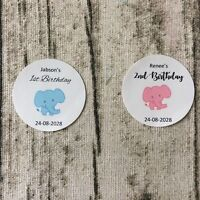 Elephant Baby Birthday Stickers White Round Gift Labels Party Favor box Stickers