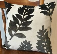 Handmade Cushion Cover With Black Velvet Leaf Pattern17 X17""