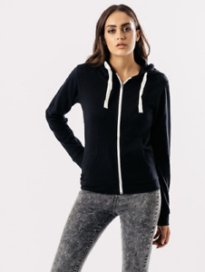 Ladies Influence Chunky Black Zipped Front Hoodie With White Contrast Zip & Cord