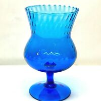 Empoli Diamond Optic Italian Art Glass Vase, Fluted Snifter, Blue, Vintage