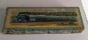 1920s Double Twelve Express Train Dominoes by The Embossing Co. USA Made