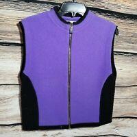 Orvis Womens Size Medium Zip Up Lambs Wool Purple Vest