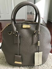 Authentic Burberry Orchard Heritage Grained Medium Grey Leather Satchel Bag