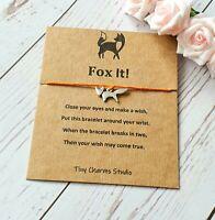 Fox It! Wish Bracelet Fox Jewellery Birthday Keepsake Card Friendship Charm Gift