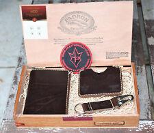 Handmade Cigar Box Gift Set Brown Chromexcel Leather Passport Wallet Key Keeper