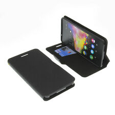 Funda para Wiko Rainbow Up smartphone estilo libro Protectora NEGRA
