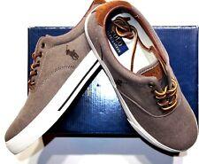 Polo Ralph Lauren low top twill with suede trim sneaker size 11.5 D dark khaki