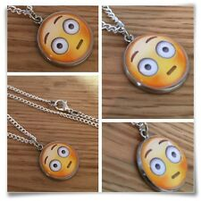 Emoji face Embarrassed blush silly face Charm pendant necklace txt geek