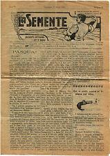 LA SEMENTE, SETTIMANALE PER IL POPOLO (BOLOGNA), ANNO II, NUM. 13, MARZO 1910  m