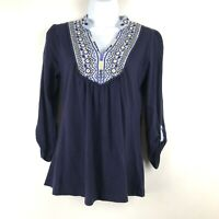 Anthropologie Akemi + Kin Spice Market Blue Top Mirror Embroidered Blouse Shirt