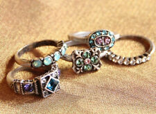 SWEET ROMANCE SET OF 5 ITALIAN RENAISSANCE CRYSTAL STACKING RINGS SZ 7 ST