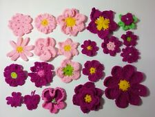 New listing 20 pcs.Handmade crochet Flower Appliques mix size, multi color sewing craft