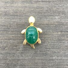 Vintage Jewelry Tiny Gold Filled Turtle Green Scarab Shell Brooch Pin Lot B