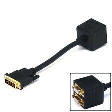 DVI-I Male to 2x SVGA VGA HD15 Female Video Adapter Y Splitter Cable PC Monitor